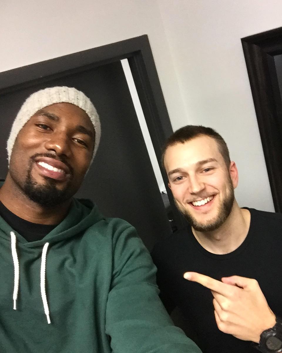 Dr. Justin Fowler and NBA Superstar Toronto Raptors player Serge Ibaka